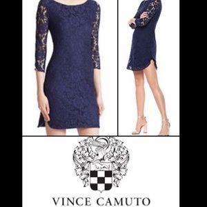 🌸 Vince Camuto Lace Mini Dress Navy 3/4 Slit Side